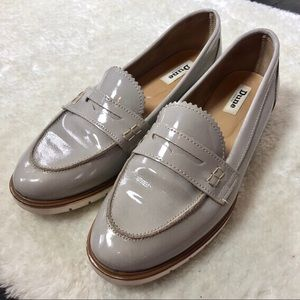 Dune London Gray Patent Leather Penny Loafers